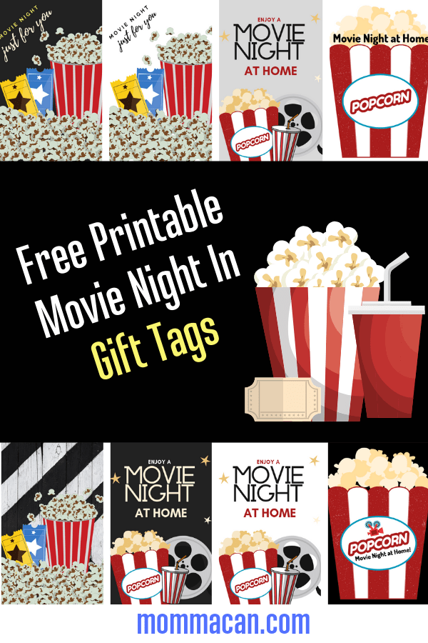 Free Printable Movie Night In Gift Tags