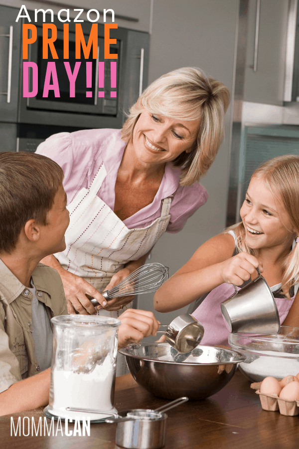 PRIME DAY DEALS FOR BUSY MOMS & FAMILIES, mom with kids in the kitchen.