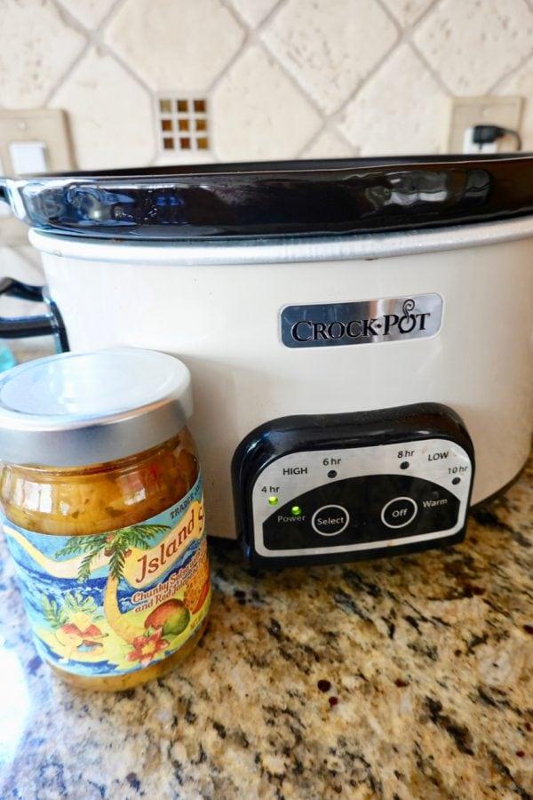 Island Fruit Slow Cooker Shredded Chicken Tacos-