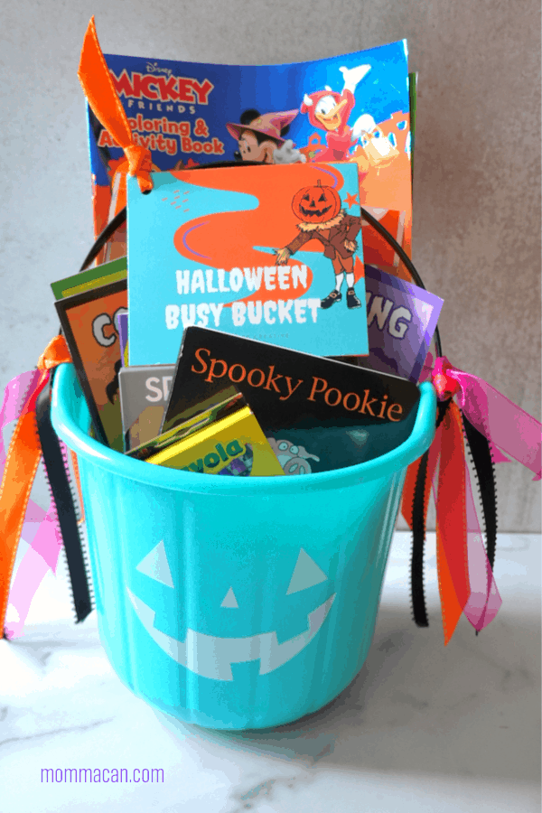 Halloween Busy Bucket Gift Basket Ideas with Printable Tags