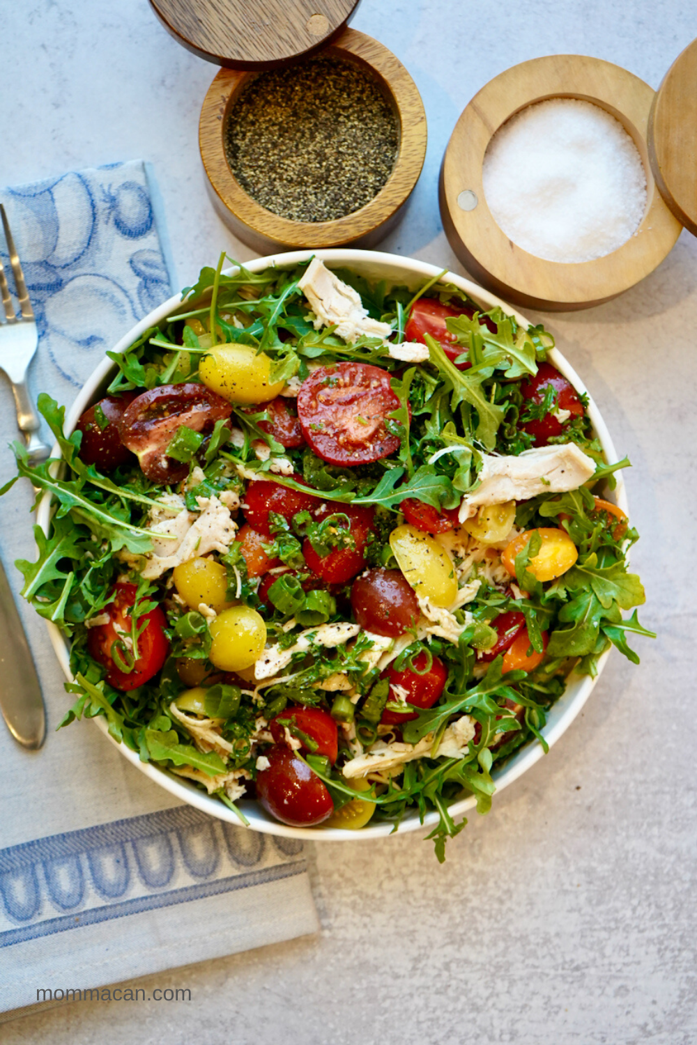 Tomato Herbs and Chicken Salad over Arugula