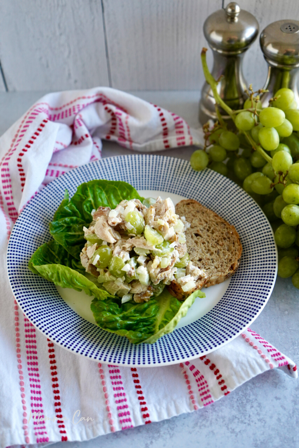 Green Grape Chicken Salad with bread and lettuce
