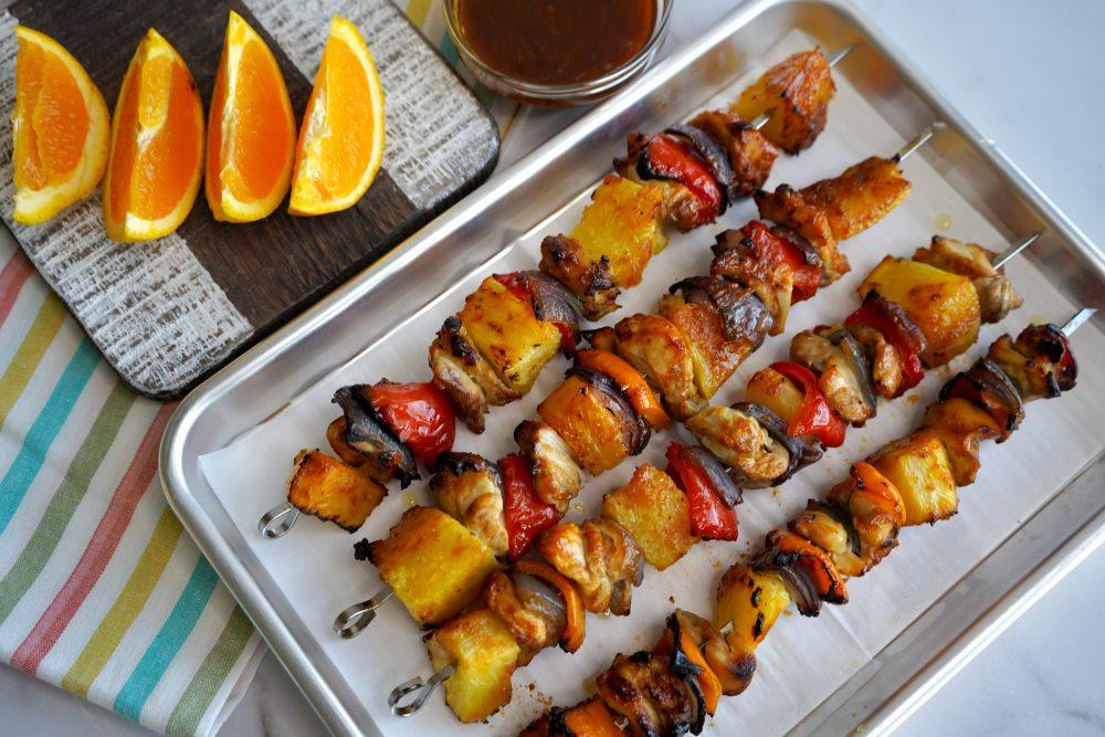 Oven Baked Hawaiian Style Pineapple Chicken Skewers