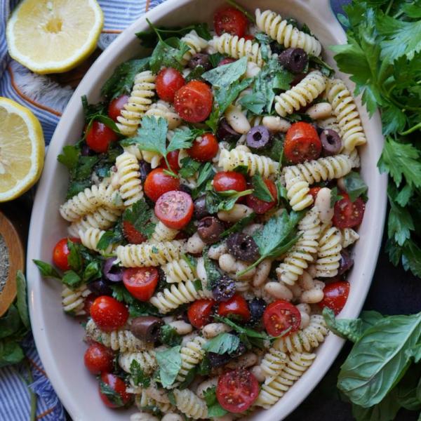 Mediterranean White Bean Pasta Salad ingredients