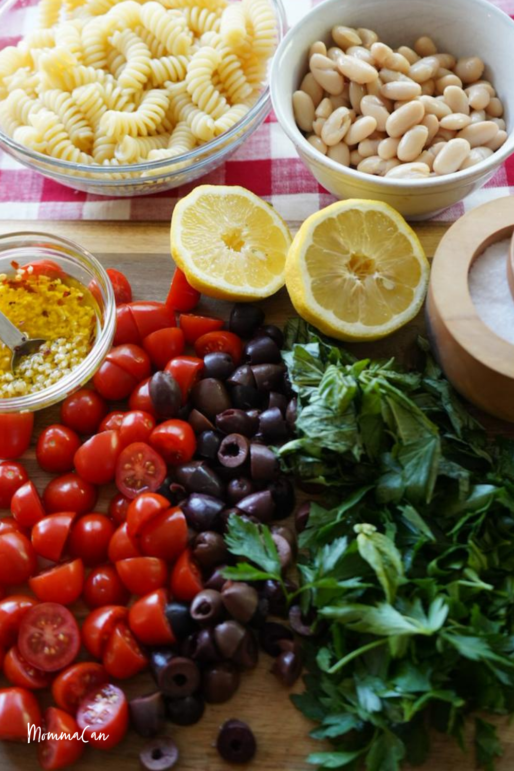Mediterranean White Bean Pasta Salad ingredients