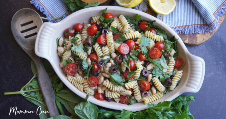 White Bean Pasta salad herbs