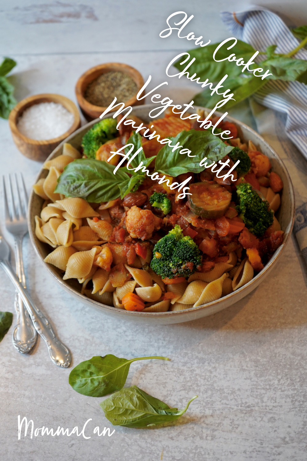 Slow Cooker Chunky Vegetable Marinara with Almonds