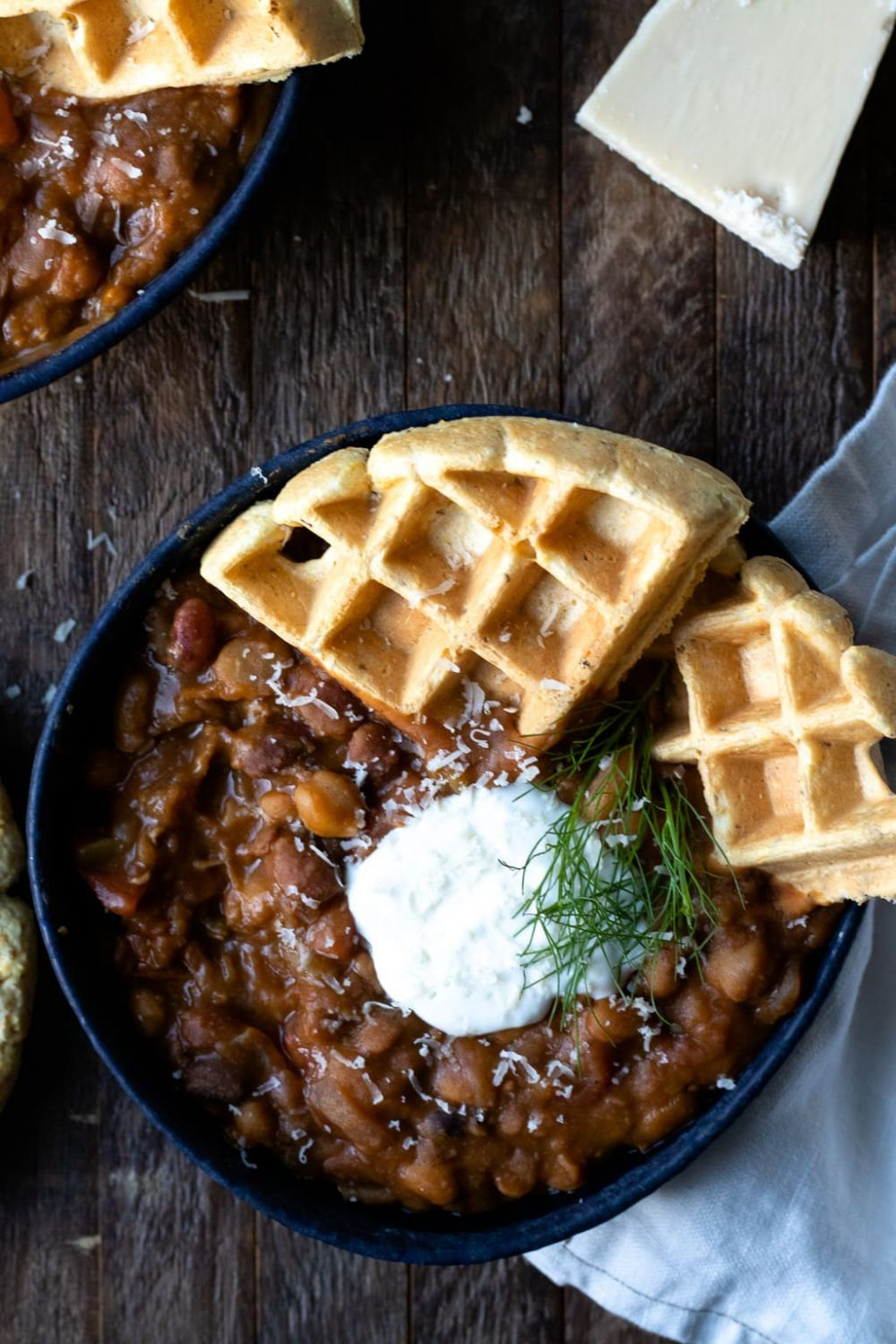 13 bean chili with cornbread waffles